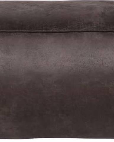 Černý puf s potahem z recyklované kůže BePureHome Rodeo