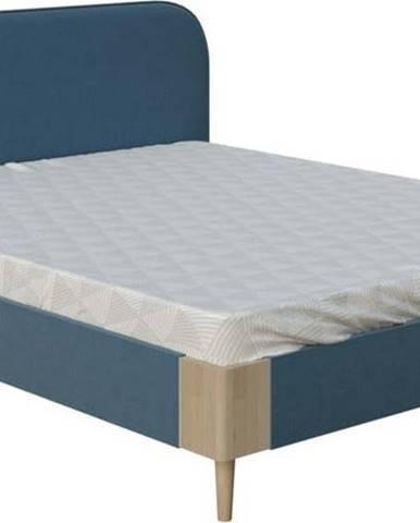 Modrá dvoulůžková postel ProSpánek Lena, 160 x 200 cm