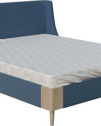 Modrá dvoulůžková postel ProSpánek Sara, 160 x 200 cm