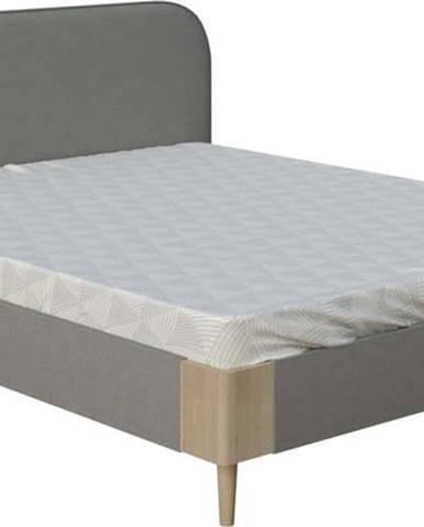 Šedá dvoulůžková postel ProSpánek Lena, 160 x 200 cm