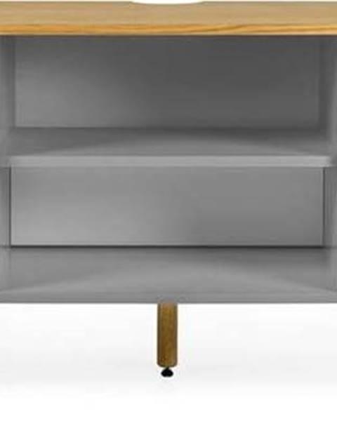 Tenzo Šedý TV stolek s nohami z dubového dřeva Tenzo Dot, šířka 162 cm