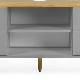 Šedý TV stolek s nohami z dubového dřeva Tenzo Dot, šířka 162 cm