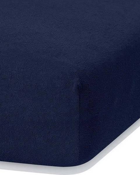 AmeliaHome Námořnicky modré elastické prostěradlo s vysokým podílem bavlny AmeliaHome Ruby, 100/120 x 200 cm