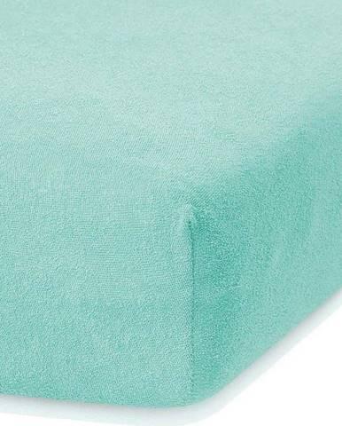 Mátově zelené elastické prostěradlo s vysokým podílem bavlny AmeliaHome Ruby, 140/160 x 200 cm