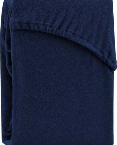 Tmavě modré elastické prostěradlo na dvoulůžko AmeliaHome Ruby Siesta, 200/220 x 200 cm