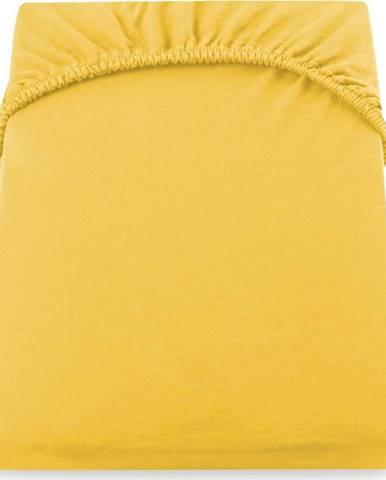 Žluté prostěradlo DecoKing Amber Collection, 220/240 x 200 cm