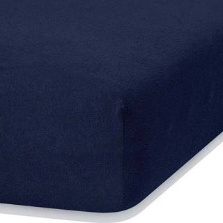 Námořnicky modré elastické prostěradlo s vysokým podílem bavlny AmeliaHome Ruby, 100/120 x 200 cm
