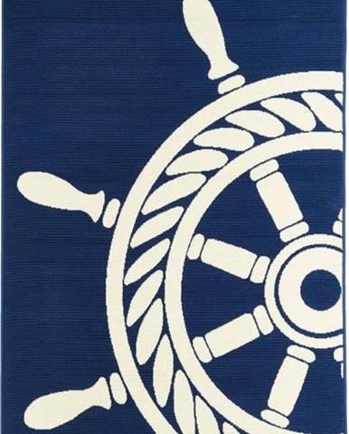 Tmavě modrý venkovní koberec Floorita Wheel, 160 x 230 cm