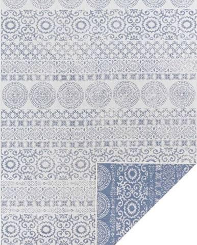 Modro-bílý venkovní koberec Ragami Circle, 200 x 290 cm