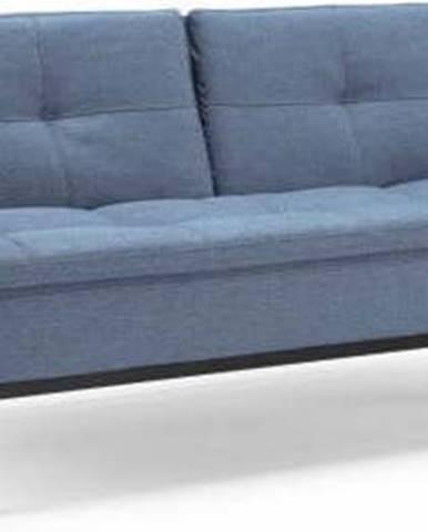 Modrá rozkládací pohovka s područkami Innovation Dublexo Soft Indigo, 90x244cm