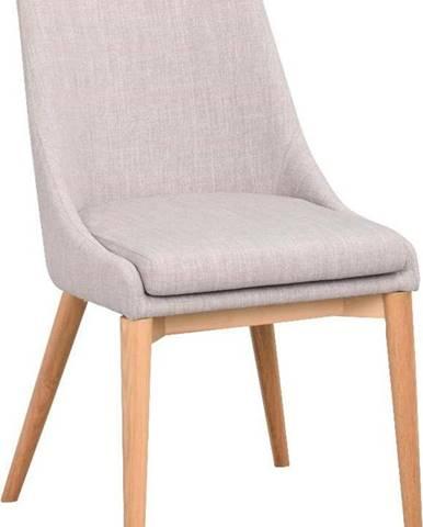 Světle šedá polstrovaná jídelní židle s hnědými nohami Rowico Bea
