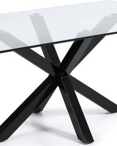 Jídelní stůl se skleněnou deskou La Forma s černým podnožím, 160 x 90 cm