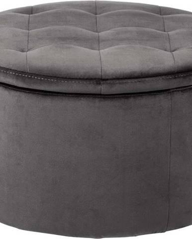 Šedý sametový puf Actona Retina, ⌀ 60 cm