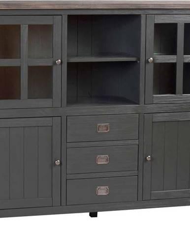 Tmavě šedý dřevěný příborník Rowico Nottingham