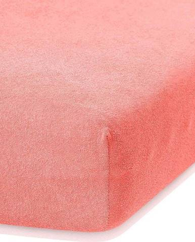 Korálově růžové elastické prostěradlo s vysokým podílem bavlny AmeliaHome Ruby, 160/180 x 200 cm