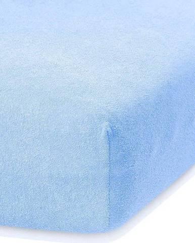Světle modré elastické prostěradlo s vysokým podílem bavlny AmeliaHome Ruby, 100/120 x 200 cm