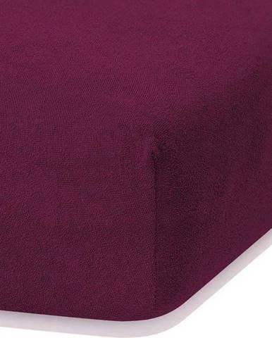 Tmavě fialové elastické prostěradlo s vysokým podílem bavlny AmeliaHome Ruby, 140/160 x 200 cm
