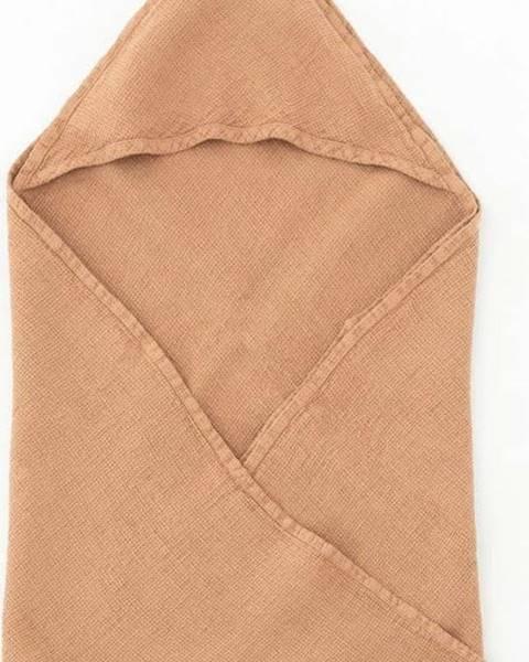 Linen Tales Dětský oranžový lněný ručník Linen Tales Waffle,70x70cm