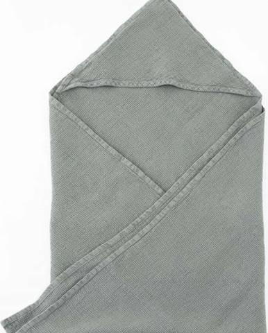 Dětský modrý lněný ručník Linen Tales Waffle,70x70cm