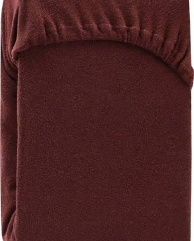 Hnědé elastické prostěradlo na dvoulůžko AmeliaHome Ruby Siesta, 220/240 x 220 cm