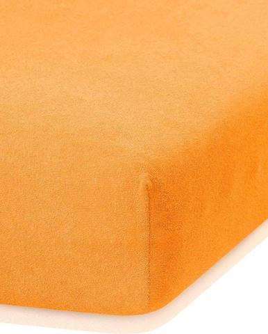 Oranžové elastické prostěradlo s vysokým podílem bavlny AmeliaHome Ruby, 140/160 x 200 cm