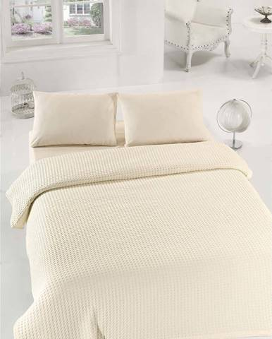 Krémový lehký bavlněný přehoz přes postel na jednolůžko Caleidoscope, 160x235cm