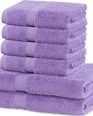Set 2 bavlněných světle fialových osušek a 4 ručníků DecoKing Marina