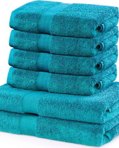 Set 2 tyrkysových osušek a 4 ručníků DecoKing Marina