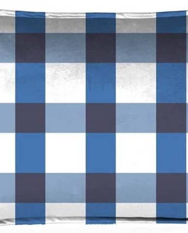 Modro-bílý dekorativní povlak na polštář Velvet Atelier Vichy, 50 x 35 cm