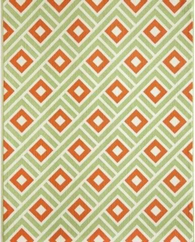 Oranžovo-zelený venkovní koberec Floorita Greca, 133 x 190 cm