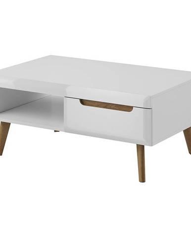 konferenční stolek NOVA, bílá/dub riviera