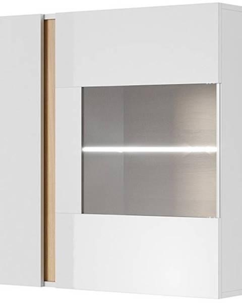 ERA Závěsná vitrína ARDEN 96 LED, bílá/dub/bílý lesk