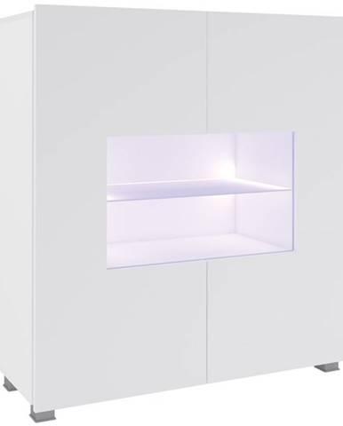 Komoda Corinto LED, bílá/bílý lesk