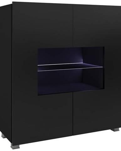 Komoda Corinto LED, černá/černý lesk