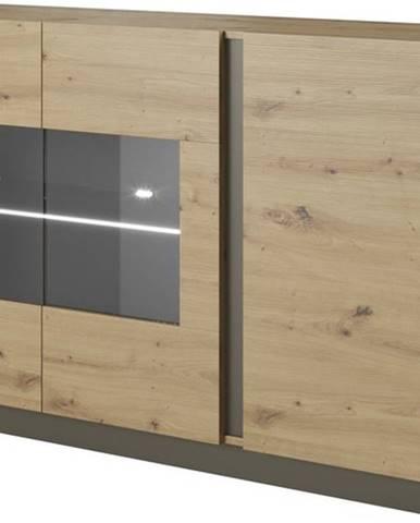 Prosklená komoda ARDEN 138 LED, dub artisan/grafit