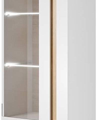 Vitrína ARDEN 60 LED, bílá/dub/bílý lesk