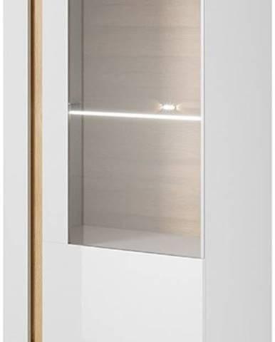 Vitrína ARDEN 72 LED, bílá/dub/bílý lesk