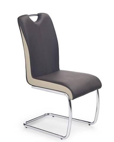 Halmar Jídelní židle K184, tmavě hnědá/šampaňské