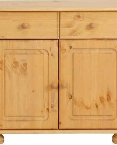 Hnědá dvoudveřová komoda z masivního borovicového dřeva Støraa Ella
