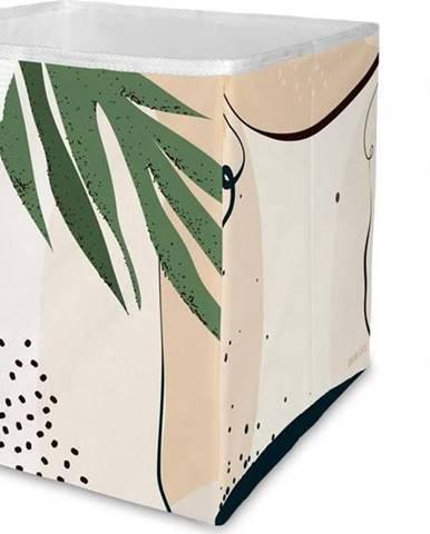 Béžový úložný box z mikrovlákna Butter Kings Abstract Art,32 l