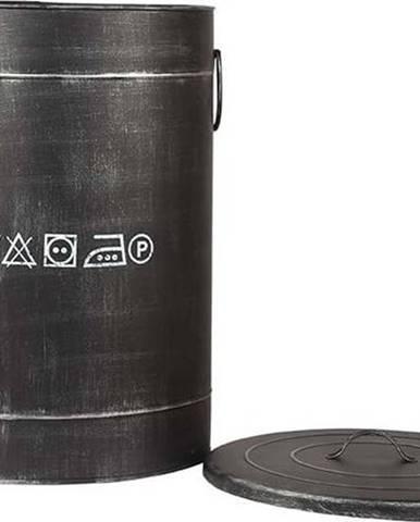 Černý kovový koš na špinavé prádlo LABEL51, ⌀40cm