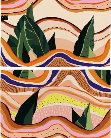 Sada 2 ks bavlněného prostírání Butter Kings Abstract Landscape