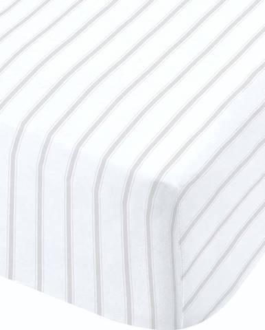 Bílo-šedé prostěradlo Catherine Lansfield Ticking, 90 x 190 cm