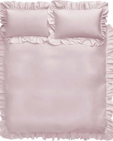 Růžové bavlněné povlečení Bianca Frill, 135 x 200 cm