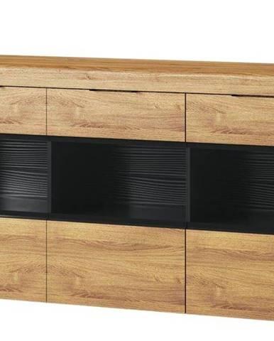 Komoda Kama 170 cm Dub Camargue/Černý Mat