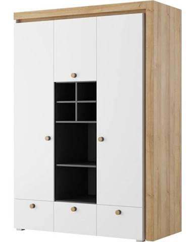 Skříň Riva 138 cm Černá Mat/Dub Riviera/Bílý