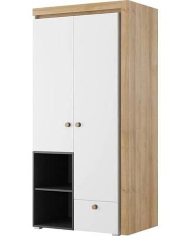 Skříň Riva 95 cm Černá Mat/Dub Riviera/Bílý