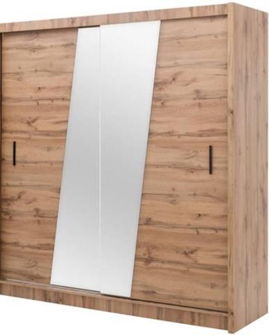 Skříň Venecja 203cm Dub Votan/Zrcadlo