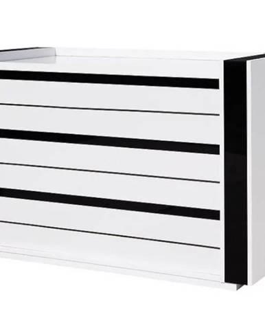 Komoda Linn 125 cm, bílá / černá