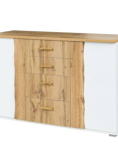 Komoda Wood 130 cm Bílý/Dub Wotan